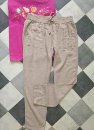 Бежевые брюки с добавлением льна от nutmeg
