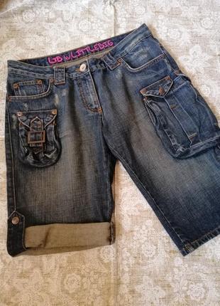 Крутые джинсовые шорты с карманами карго. р. 42-44