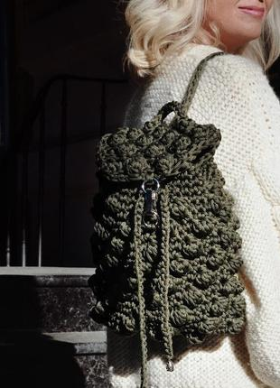 Стильный вязанный рюкзак, цвета хаки,