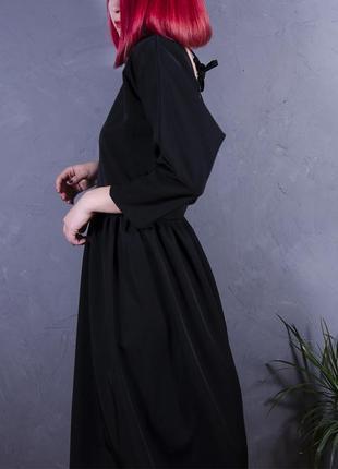 Черное платье, приталенное платье миди, вечернее платье с открытой спиной