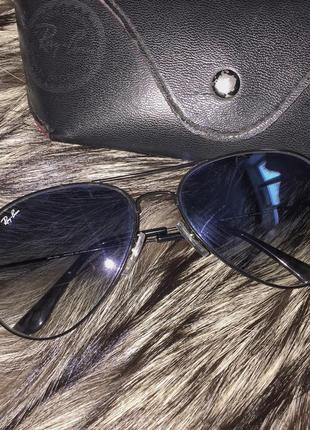 Синие очки авиаторы рэй бэн ray ban с чёрной окантовкой