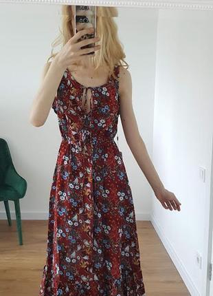 Восхитительное цветочное летнее платье бордовое трансформер открытые плечи длинные рукава2 фото