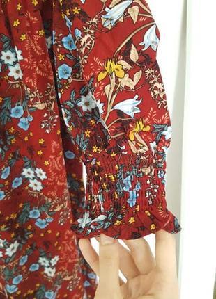 Восхитительное цветочное летнее платье бордовое трансформер открытые плечи длинные рукава4 фото