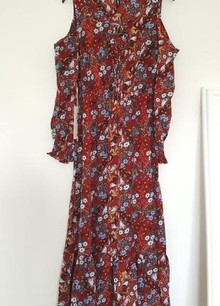 Восхитительное цветочное летнее платье бордовое трансформер открытые плечи длинные рукава5 фото