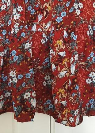 Восхитительное цветочное летнее платье бордовое трансформер открытые плечи длинные рукава6 фото