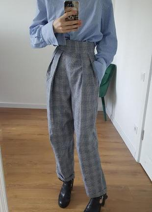 Крутые штаны на высокой талии в клетку костюмные объемные парижский шик серые