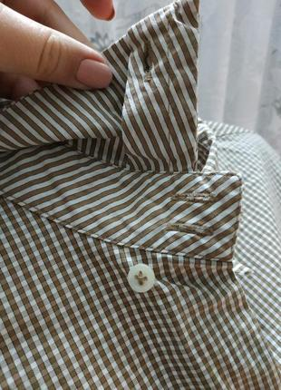 Стильная рубашка в мелкую клетку хлопок4 фото