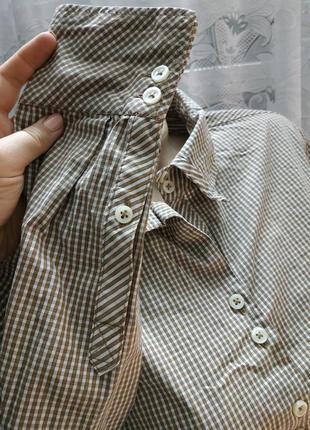 Стильная рубашка в мелкую клетку хлопок5 фото