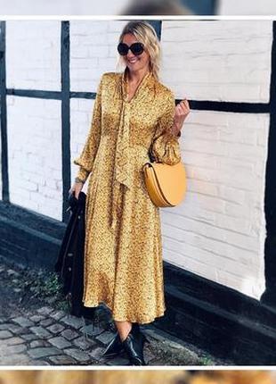 Роскошное желтое платье от m&s  c завязками на горловине, 22 р. новое!