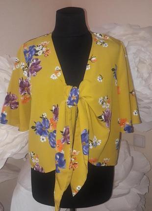Легкая леоняя блуза на завязках
