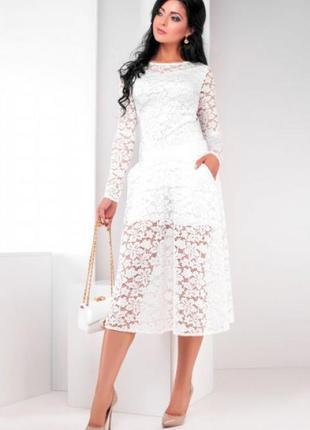 Крутой белоснежный костюм из ажурного кружева medini original! юбка-шорты+блуза!