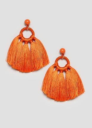Оранжевые серьги с кисточками monki сережки бижутерия asos
