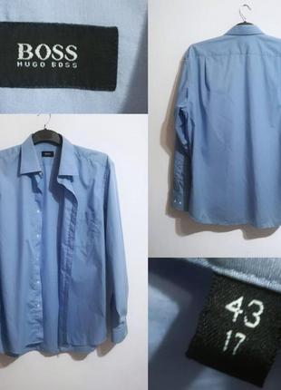 Однотонная классическая голубая рубашка от hugo boss, оригинал, 43/17