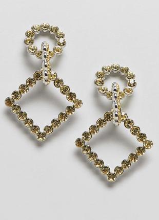 1+1=3 до 15/07 серьги с подвесками и кристаллами asos design сережки бижутерия
