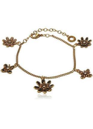 """Браслет цепочка с подвесками """"цветы"""" кристаллы эмаль позолота дания pilgrim"""