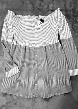 Primark блуза приспущенные плечи в полоску блузка большой размер