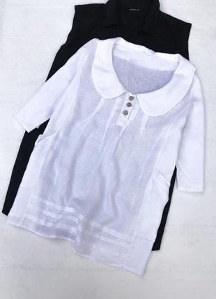 Красивая лённовая итальянская блуза,белого цвета/большого розмера