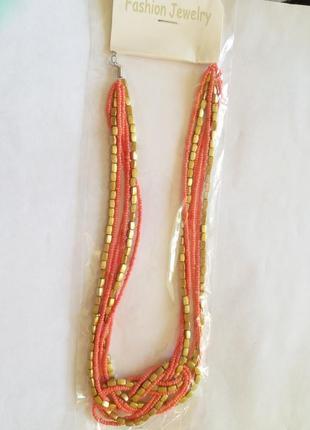 Простое оранжевое ожерелье из бисера / черная пятница