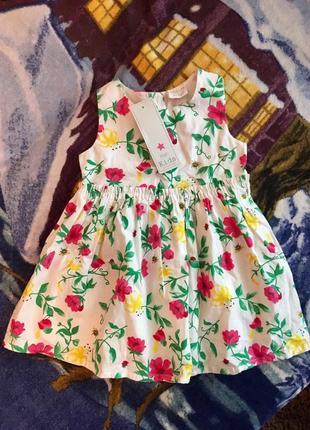 Новое белое хлопковое летнее платье в цветочек милое праздничное