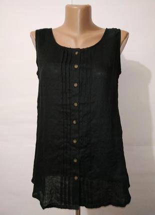 Черная льняная стильная блуза майка paul costelloe uk 10/38/,s 100% лен