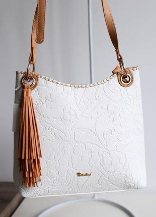 Белая премиум сумка сумочка з узором particolari италия, новая коллекция!