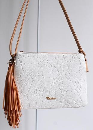 Белая премиум сумка сумочка з узором три отделения particolari италия, новая коллекция!