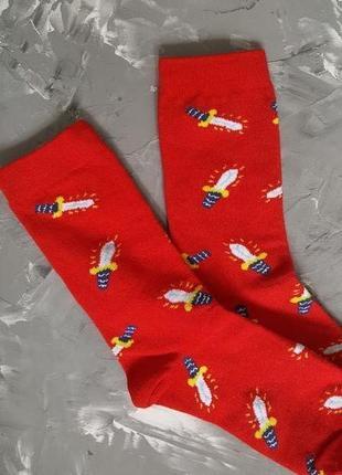 Носочки носки новые длинные большие р 38-43 яркий принт хлопок