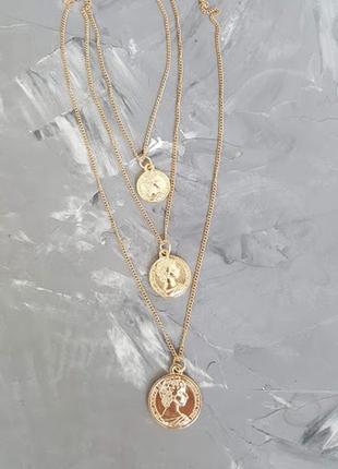 Подвеска монета портрет тренд 2019 ожерелье многослойность золотой цвет античный стиль