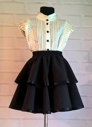 Черная школьная юбка. пышная юбка на резинке для девочек
