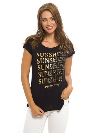 Черная женская футболка lc waikiki / лс вайкики с золотой надписью sunshine
