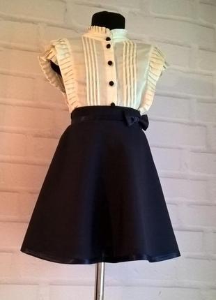 Тёмно-синяя школьная юбка для девочек