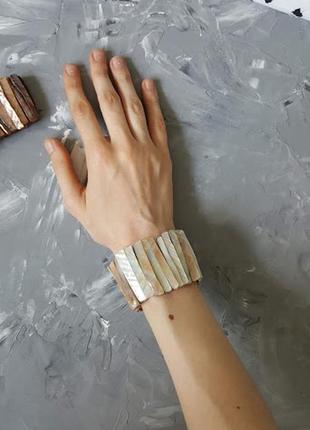 Перламутровый браслет натуральный ракушка жемчуг тренд 2019