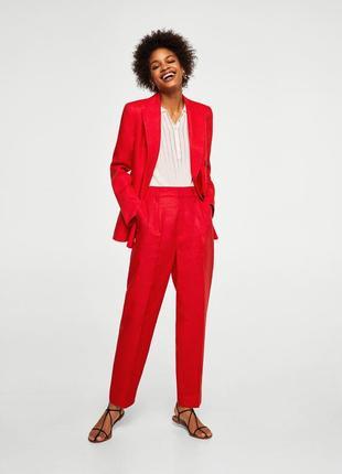 Mango красный костюм, лён ,36,  38, 40