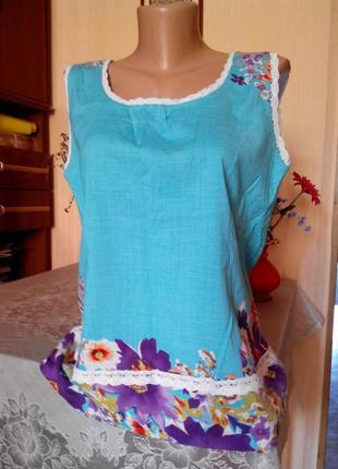Очень красивая блуза лен с эластаном-польша на 50-52р-р