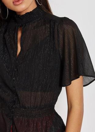 Шикарная чёрная блуза new look asos винтажная блузка блестящая винтаж