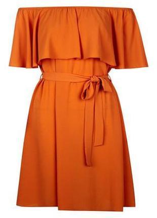 Яркое летнее платье на плечики с воланом new look