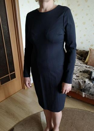 Женское строгое деловое платье с длинным рукавом