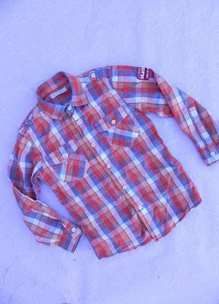 Рубашка хлопок marks & spencer 7 лет 122см