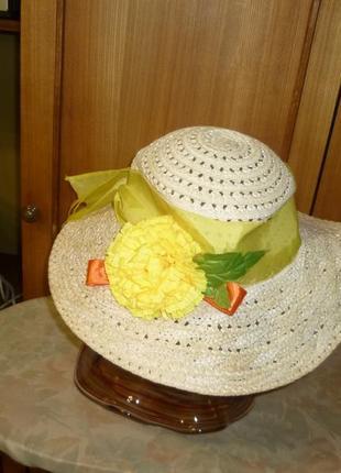 Красивая удобная летняя шляпа(шляпка,панама)соломка+сетка