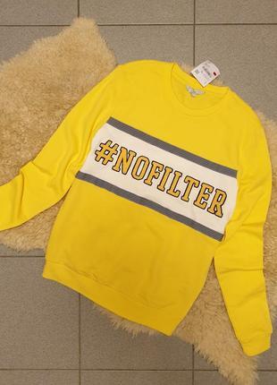 Clockhouse германия 2019 свитшот xs s m желтый свитер джемпер пуловер принт тренд7 фото