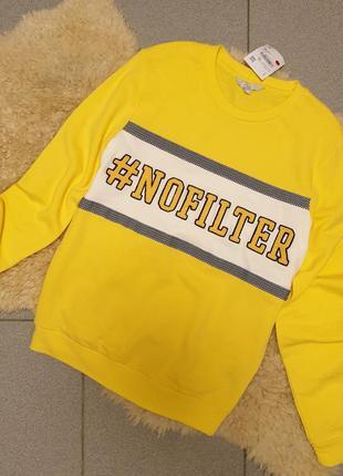 Clockhouse германия 2019 свитшот xs s m желтый свитер джемпер пуловер принт тренд4 фото