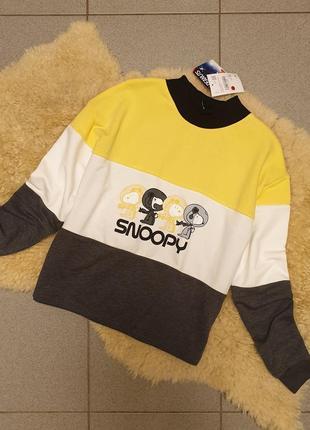 Clockhouse германия 2019 свободный свитшот кроп топ свитер пуловер принт snoopy гольф7 фото