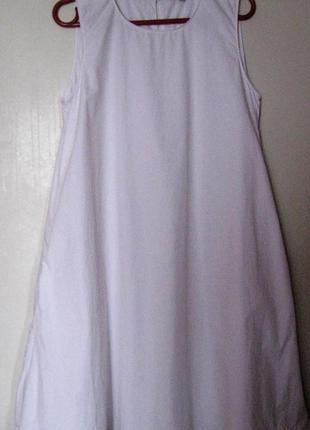 Платье3 белое свободное с карманами