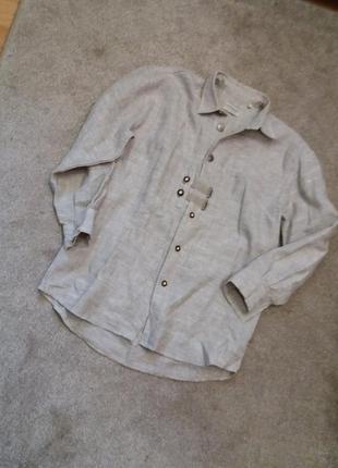 Рубашка -бренд-landhaus в стиле casual-не обработанный -лен-100%-бренд- c&a