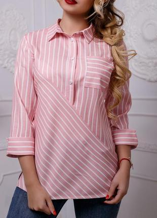 Женская нежная полосатая рубашка из натуральной ткани (957 svtt)