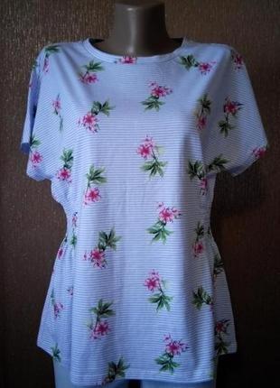 Блузка в мелкую полоску,цветы лимитированная коллекция размер 12marks&spencer