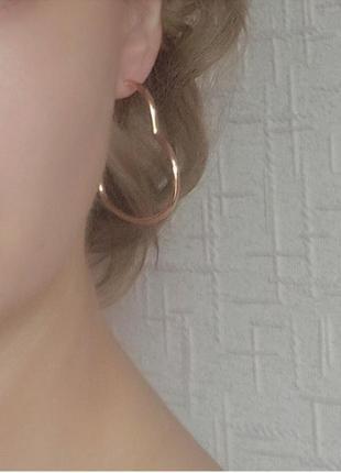 Серги кольца сердце сережки золото
