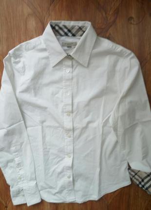 Классическая стрейчевая рубашка белая блузка в клетку оригинал