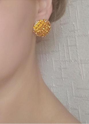 Серьги гвоздики золото вечерние сережки