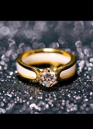 Кольцо колечко керамическое белое золото